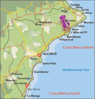 Где находится бенидорм на карте испании