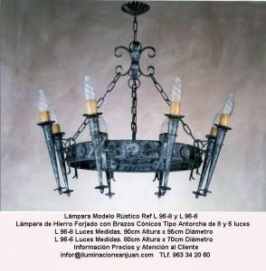 Lámparas y artículos decoración en forja Valencia