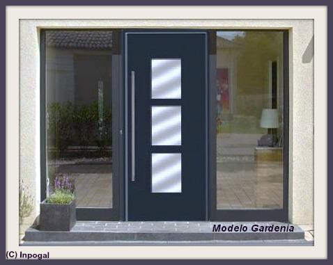 Puerta negra inox 2 grupos tu portal de for Fabrica de puertas de aluminio
