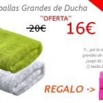 Oferta de 2 toallas grandes de ducha 100% algodón